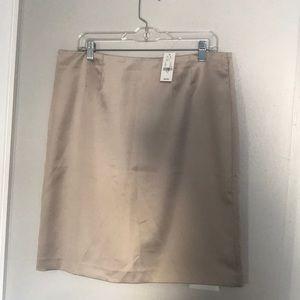 Tan Silky Straight Skirt